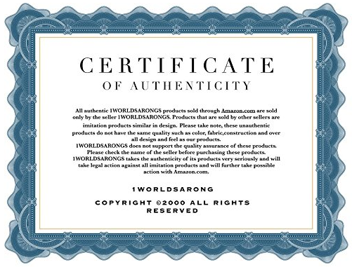 1 World Sarong authenticity certificate