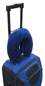 Travelmate pillow strapped to luggage